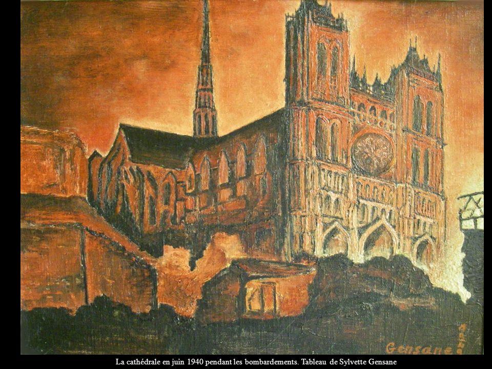 La cathédrale en juin 1940 pendant les bombardements. Tableau de Sylvette Gensane