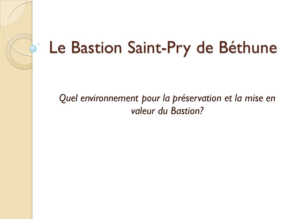 Le Bastion Saint-Pry de Béthune Quel environnement pour la préservation et la mise en valeur du Bastion?