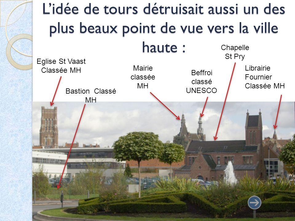 Lidée de tours détruisait aussi un des plus beaux point de vue vers la ville haute : Eglise St Vaast Classée MH Mairie classée MH Beffroi classé UNESC