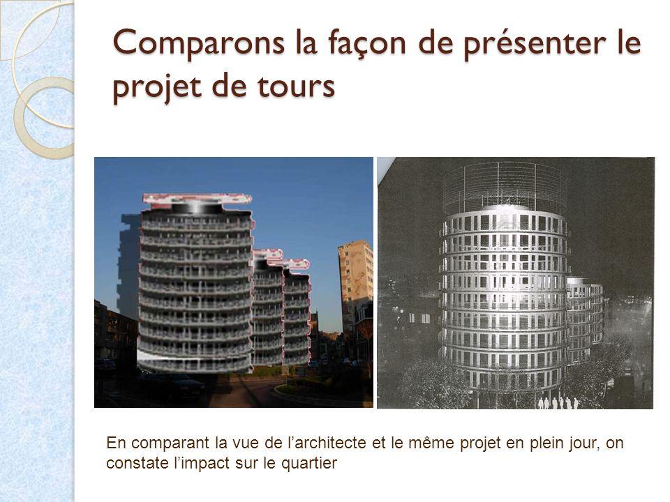 Comparons la façon de présenter le projet de tours En comparant la vue de larchitecte et le même projet en plein jour, on constate limpact sur le quar