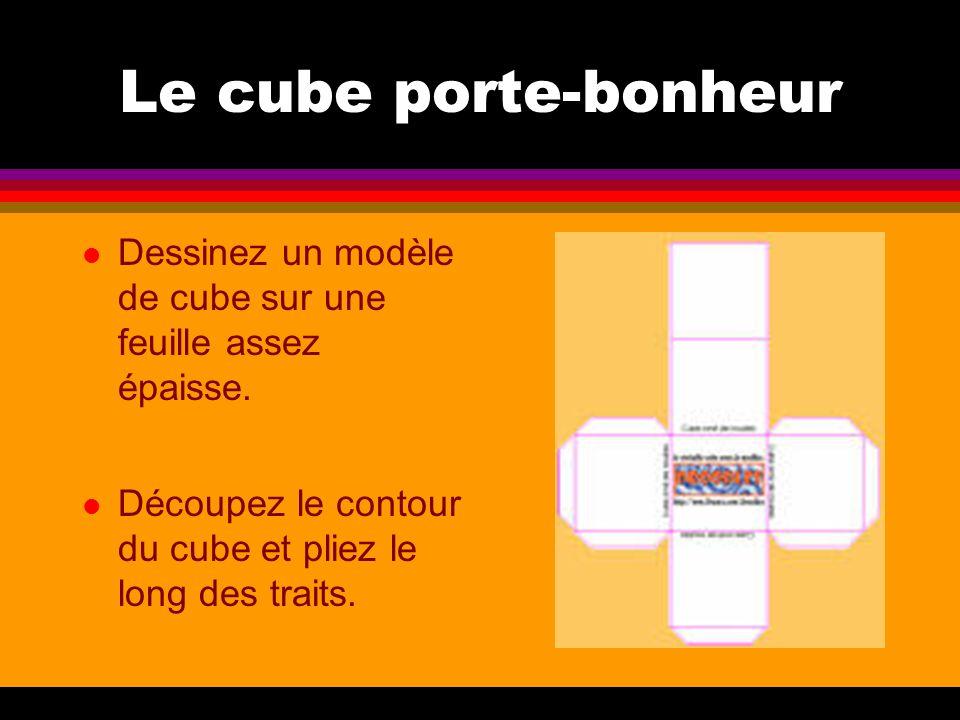 Le cube porte-bonheur l Dessinez un modèle de cube sur une feuille assez épaisse. l Découpez le contour du cube et pliez le long des traits.