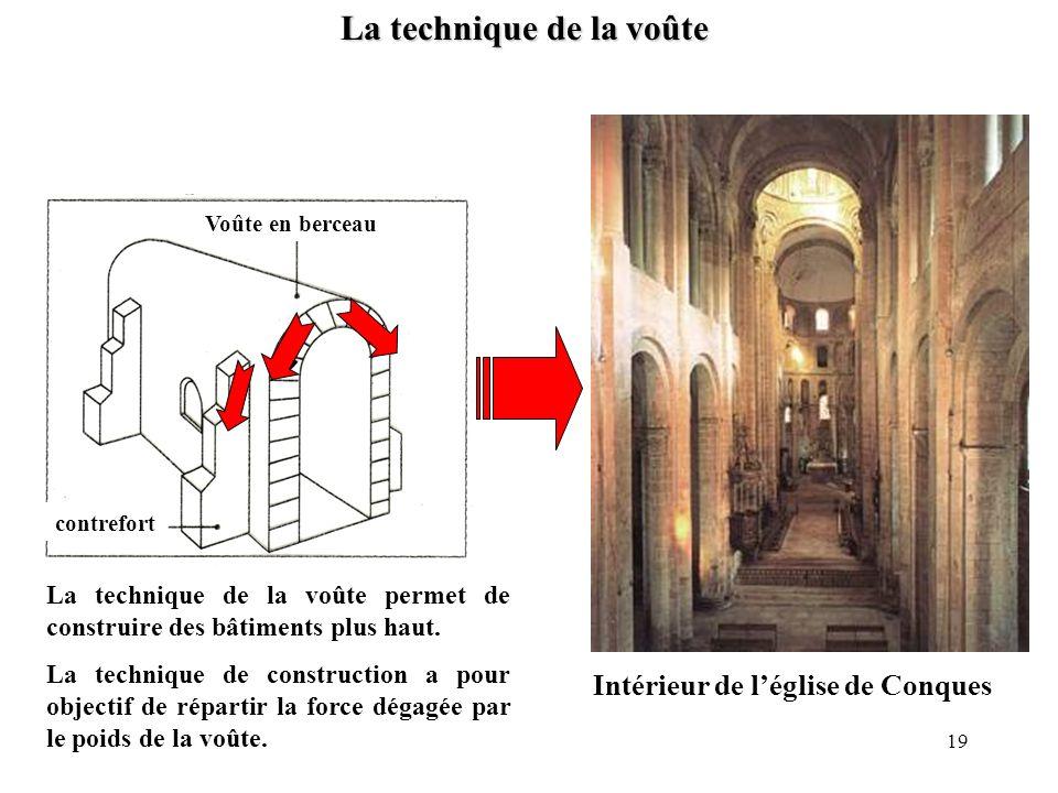 La technique de la voûte Voûte en berceau contrefort Intérieur de léglise de Conques La technique de la voûte permet de construire des bâtiments plus