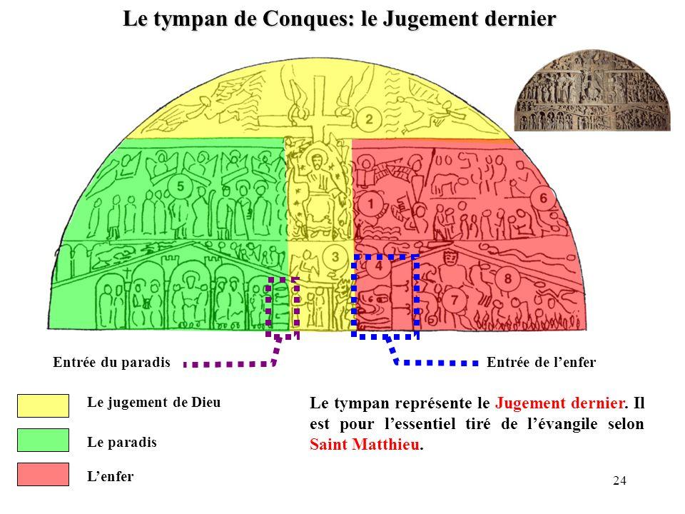 Le tympan de Conques: le Jugement dernier Le jugement de Dieu Le paradis Entrée du paradis Lenfer Entrée de lenfer Le tympan représente le Jugement de
