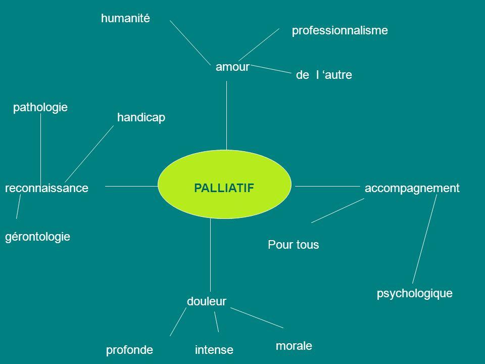 PALLIATIF amour humanité professionnalisme de l autre accompagnement Pour tous psychologique douleur profondeintense morale reconnaissance gérontologie pathologie handicap