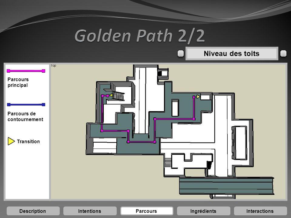 DescriptionIntentionsParcoursIngrédientsInteractions Niveau des toits Parcours principal Parcours de contournement Transition