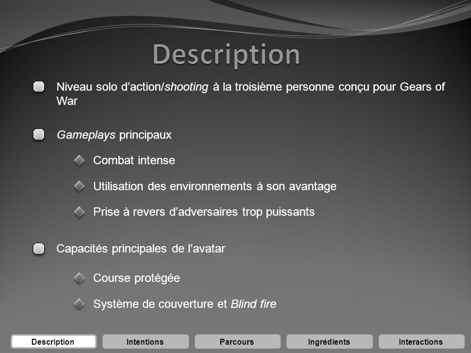 Niveau solo daction/shooting à la troisième personne conçu pour Gears of War Gameplays principaux Capacités principales de lavatar Course protégée Sys