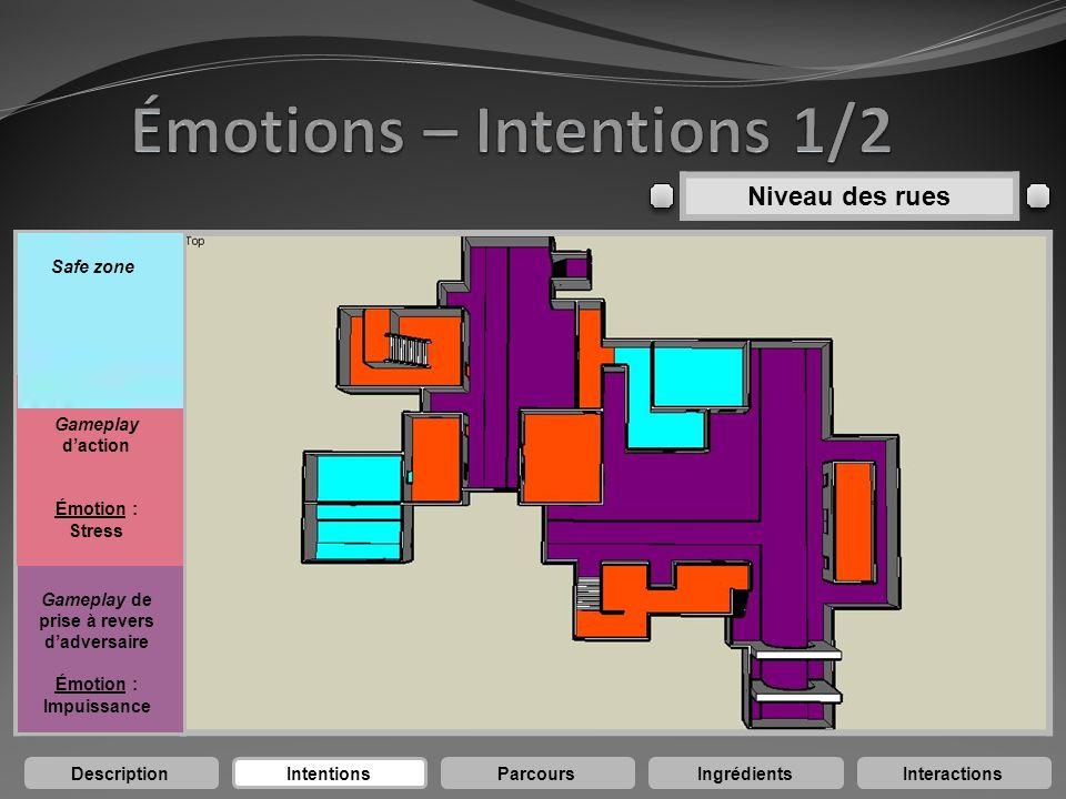 DescriptionIntentionsParcoursIngrédientsInteractions Gameplay daction Émotion : Stress Gameplay de prise à revers dadversaire Émotion : Impuissance Sa