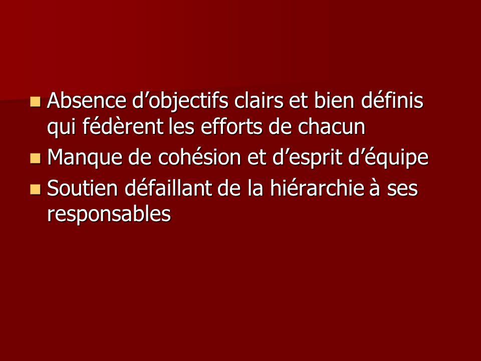 Absence dobjectifs clairs et bien définis qui fédèrent les efforts de chacun Absence dobjectifs clairs et bien définis qui fédèrent les efforts de cha