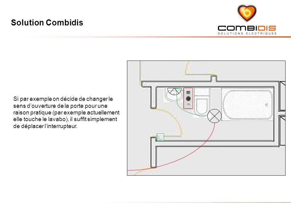 Solution Combidis Si par exemple on décide de changer le sens douverture de la porte pour une raison pratique (par exemple actuellement elle touche le lavabo), il suffit simplement de déplacer linterrupteur.