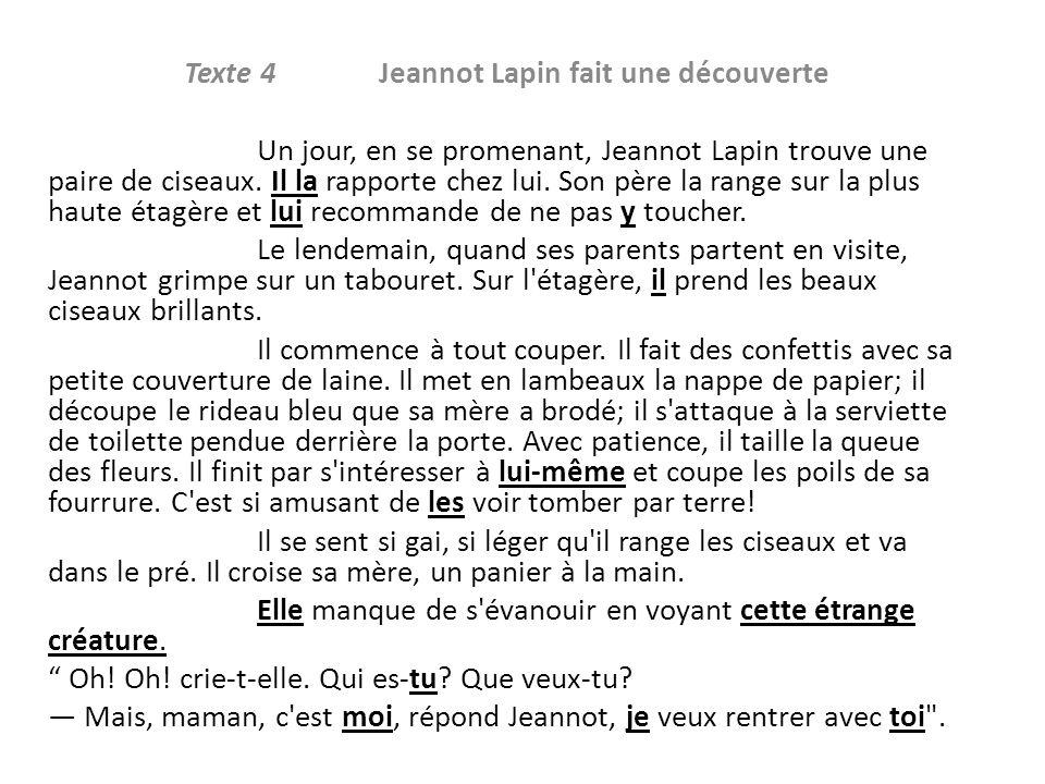 Texte 4 Jeannot Lapin fait une découverte Un jour, en se promenant, Jeannot Lapin trouve une paire de ciseaux. Il la rapporte chez lui. Son père la ra