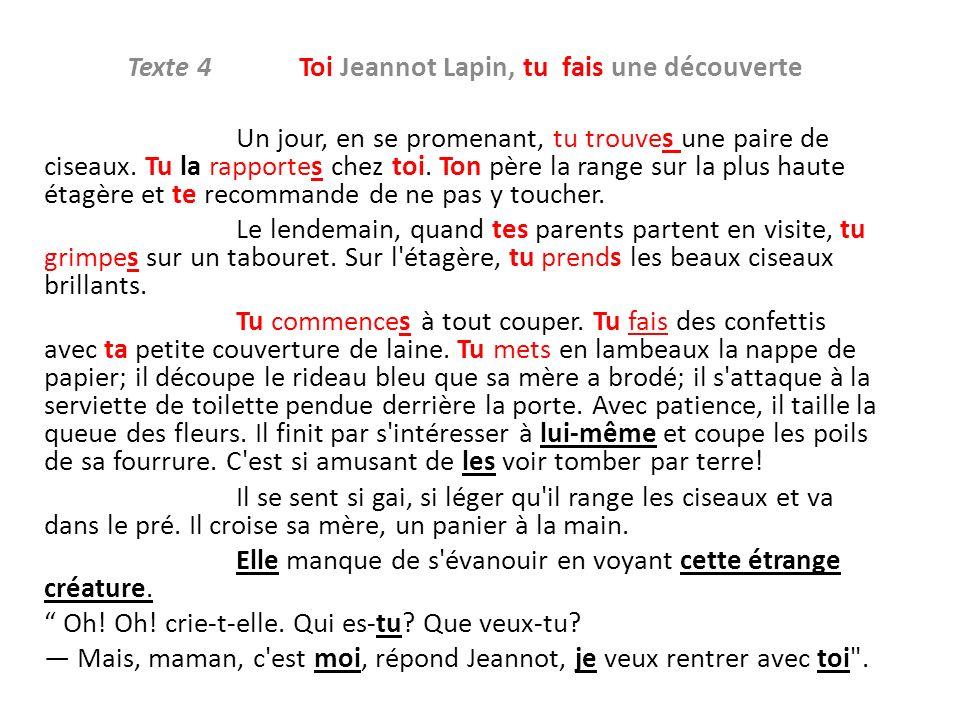 Texte 4 Toi Jeannot Lapin, tu fais une découverte Un jour, en se promenant, tu trouves une paire de ciseaux. Tu la rapportes chez toi. Ton père la ran