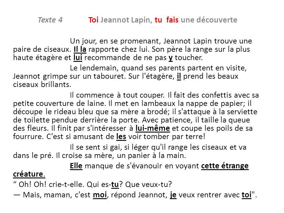Texte 4 Toi Jeannot Lapin, tu fais une découverte Un jour, en se promenant, Jeannot Lapin trouve une paire de ciseaux. Il la rapporte chez lui. Son pè