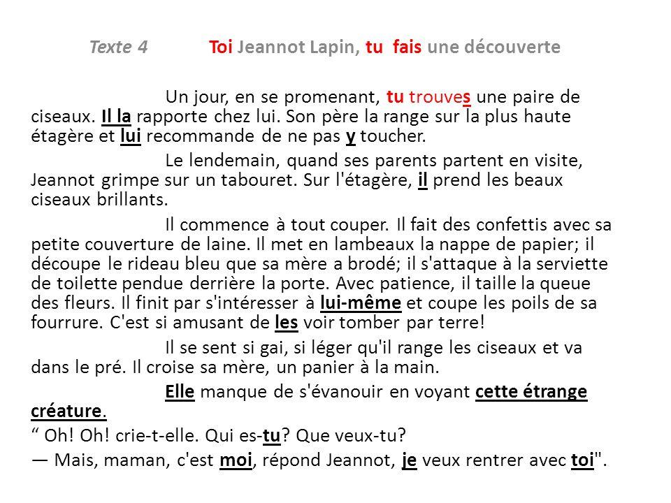 Texte 4 Toi Jeannot Lapin, tu fais une découverte Un jour, en se promenant, tu trouves une paire de ciseaux. Il la rapporte chez lui. Son père la rang