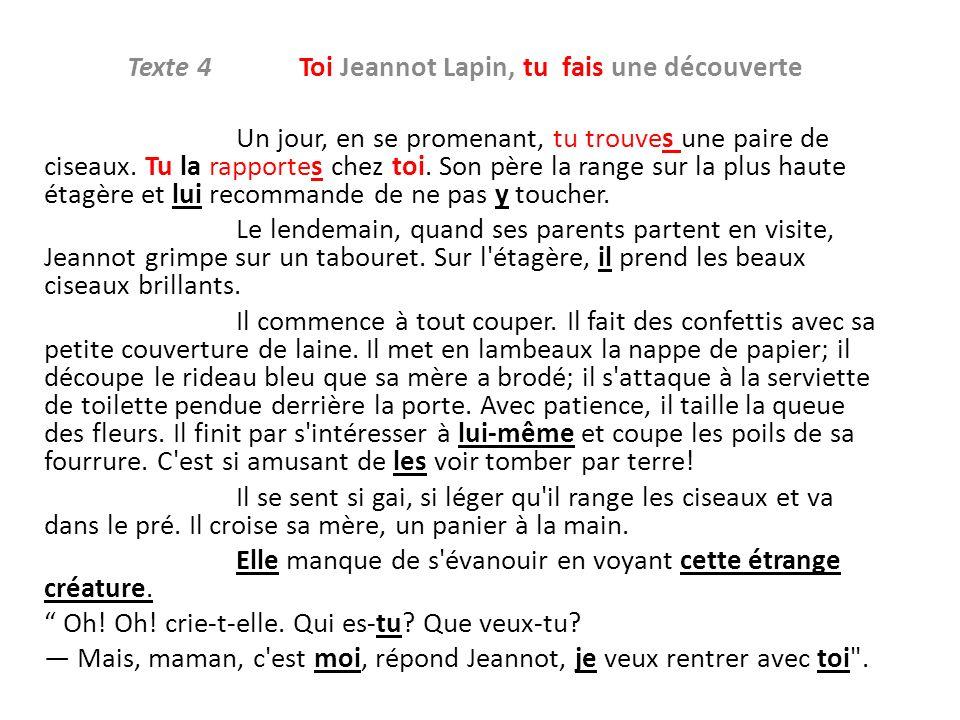 Texte 4 Toi Jeannot Lapin, tu fais une découverte Un jour, en se promenant, tu trouves une paire de ciseaux. Tu la rapportes chez toi. Son père la ran