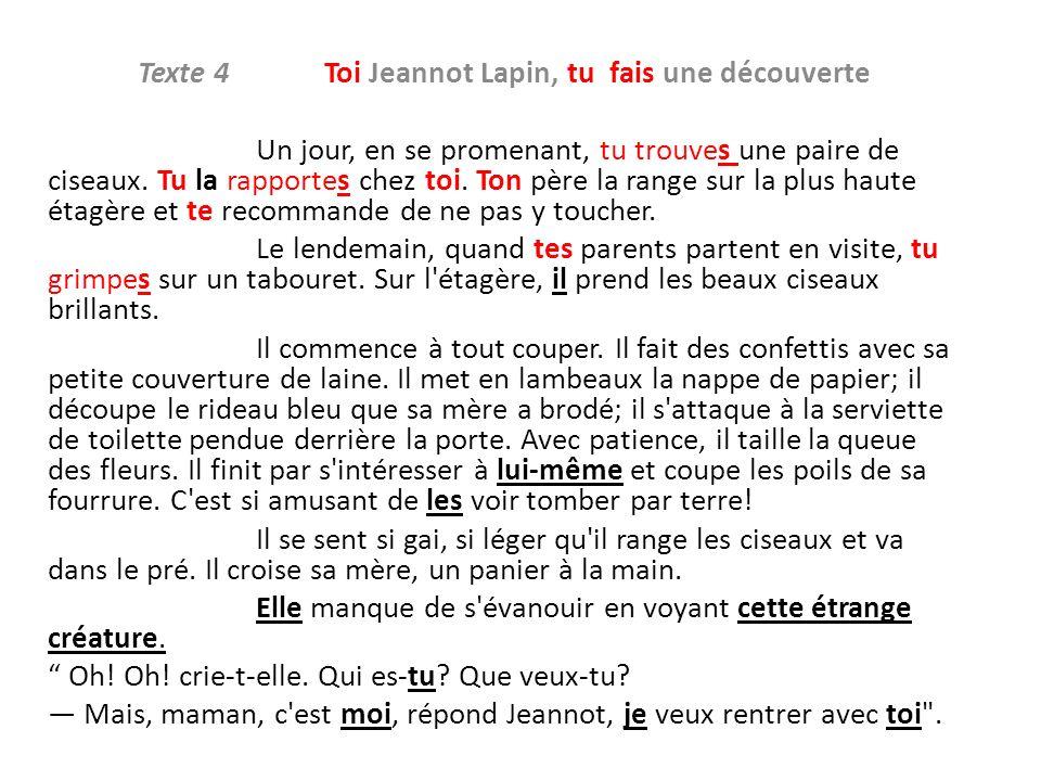 Texte 4 Toi Jeannot Lapin, tu fais une découverte Un jour, en se promenant, tu trouves une paire de ciseaux.