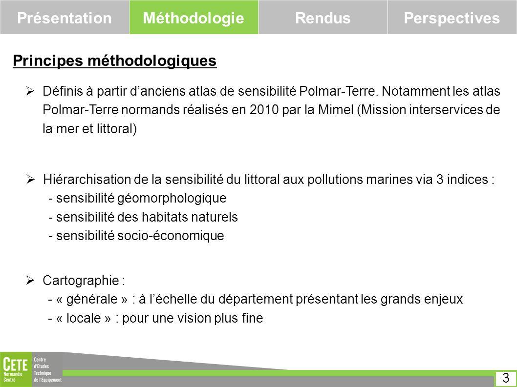 PrésentationMéthodologieRendusPerspectives Principes méthodologiques Définis à partir danciens atlas de sensibilité Polmar-Terre. Notamment les atlas