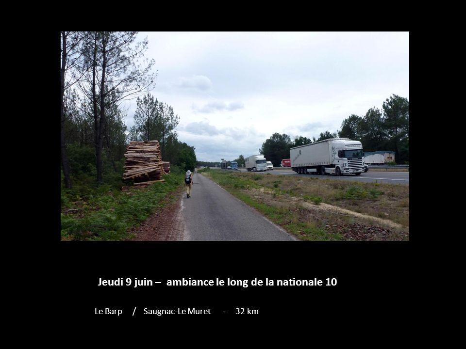 Jeudi 9 juin – ambiance le long de la nationale 10 Le Barp / Saugnac-Le Muret - 32 km