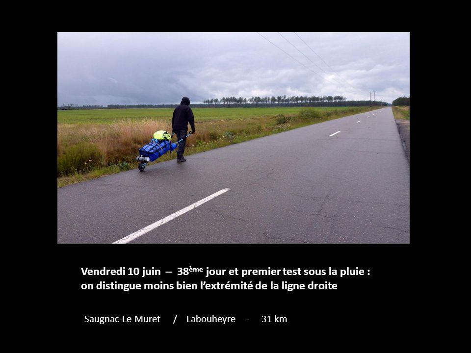 Vendredi 10 juin – 38 ème jour et premier test sous la pluie : on distingue moins bien lextrémité de la ligne droite Saugnac-Le Muret / Labouheyre - 31 km