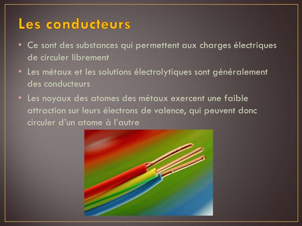 Ce sont des substances qui permettent aux charges électriques de circuler librement Les métaux et les solutions électrolytiques sont généralement des