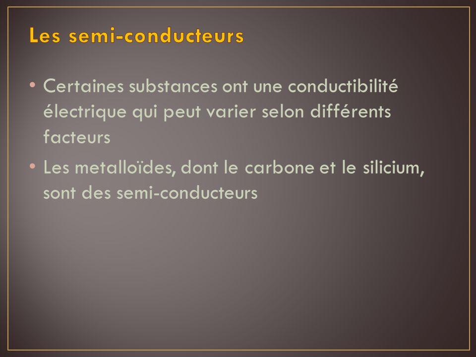 Certaines substances ont une conductibilité électrique qui peut varier selon différents facteurs Les metalloïdes, dont le carbone et le silicium, sont