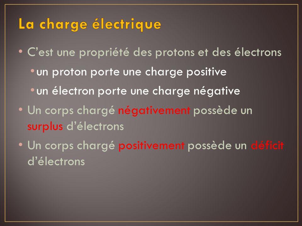 Le coulomb (C) est lunité de mesure de charge électrique (symbolisée par « q ») La charge élémentaire est la charge portée par un électron ou un proton et elle vaut 1,602 x 10 -19 C Les protons et les électrons portent les mêmes charges, mais de signes opposés Un coulomb équivaut à la charge de 6,25 x 10 18 électrons ou protons