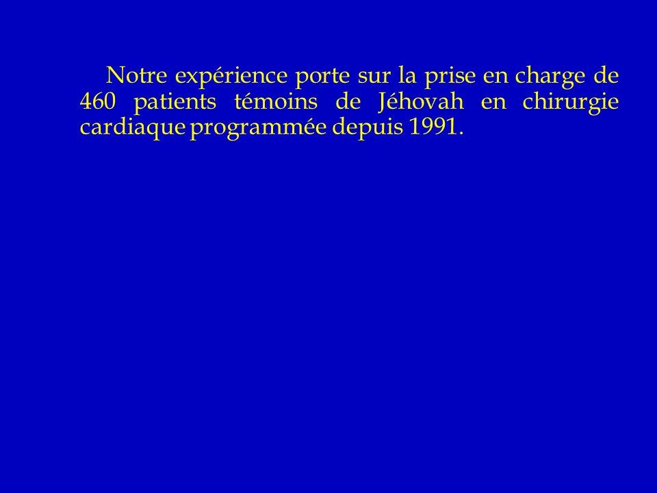 Notre expérience porte sur la prise en charge de 460 patients témoins de Jéhovah en chirurgie cardiaque programmée depuis 1991.