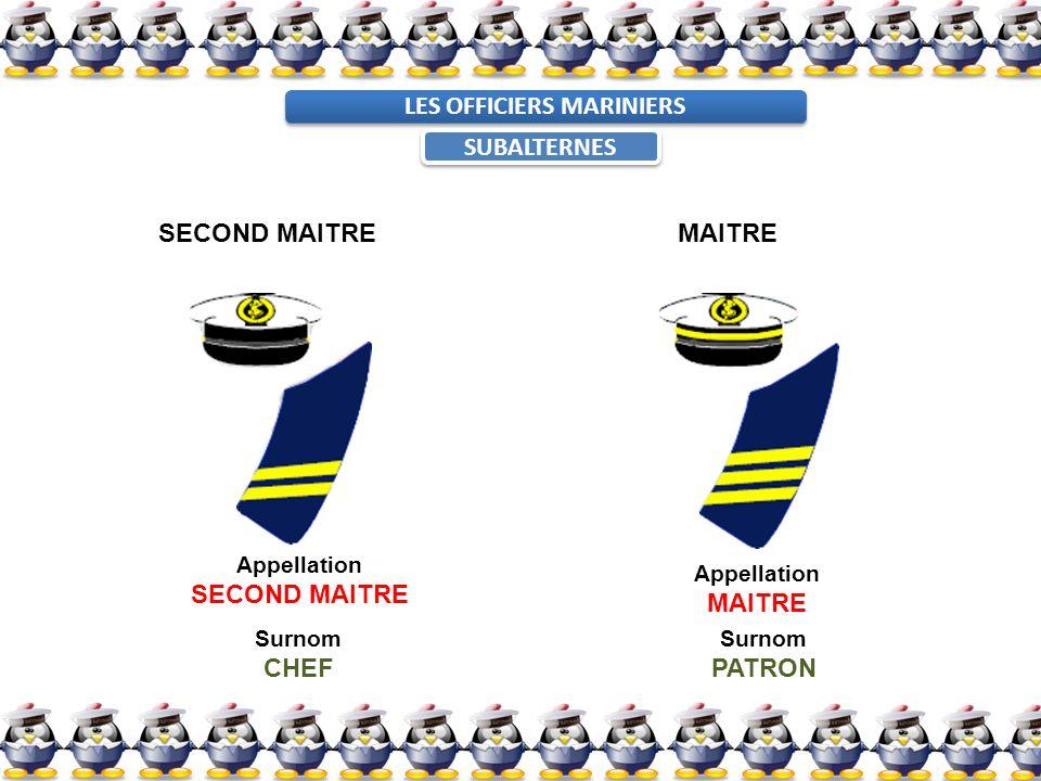 SECOND MAITREMAITRE Appellation SECOND MAITRE Appellation MAITRE Surnom CHEF Surnom PATRON LES OFFICIERS MARINIERS SUBALTERNES