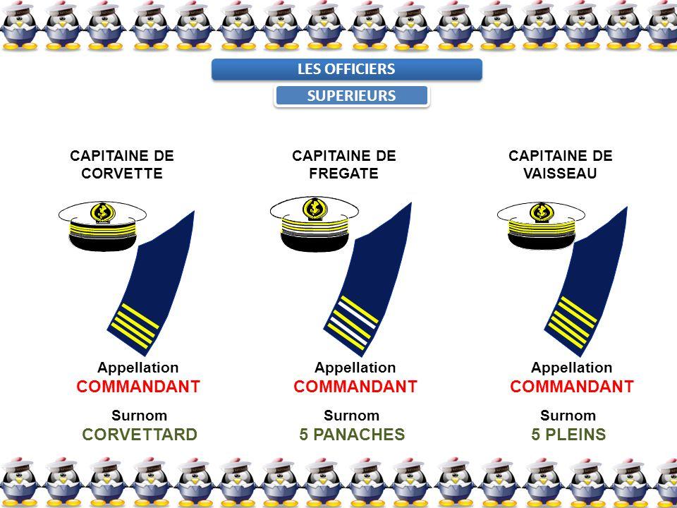 LES OFFICIERS SUPERIEURS CAPITAINE DE CORVETTE CAPITAINE DE FREGATE CAPITAINE DE VAISSEAU Appellation COMMANDANT Appellation COMMANDANT Appellation CO