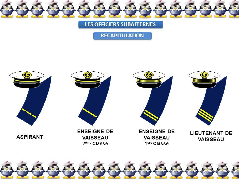 ASPIRANT ENSEIGNE DE VAISSEAU 1 ère Classe ENSEIGNE DE VAISSEAU 2 ème Classe LIEUTENANT DE VAISSEAU LES OFFICIERS SUBALTERNES RECAPITULATION