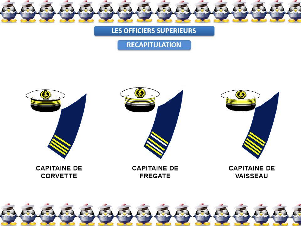 LES OFFICIERS SUPERIEURS CAPITAINE DE CORVETTE CAPITAINE DE FREGATE CAPITAINE DE VAISSEAU RECAPITULATION