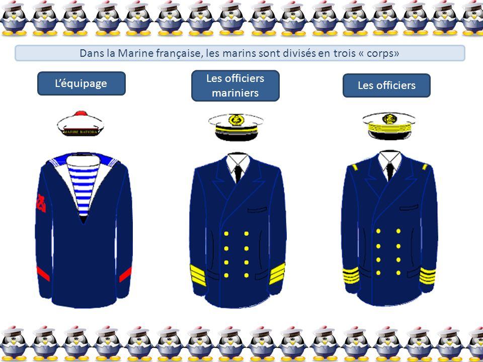 Dans la Marine française, les marins sont divisés en trois « corps» Léquipage Les officiers mariniers Les officiers