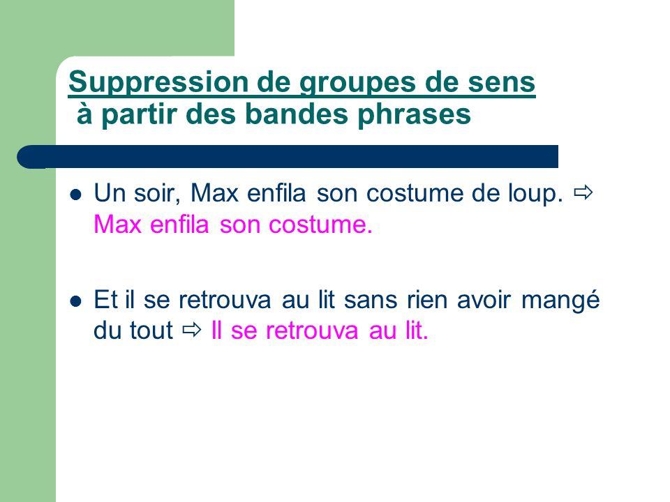 Suppression de groupes de sens à partir des bandes phrases Un soir, Max enfila son costume de loup. Max enfila son costume. Et il se retrouva au lit s