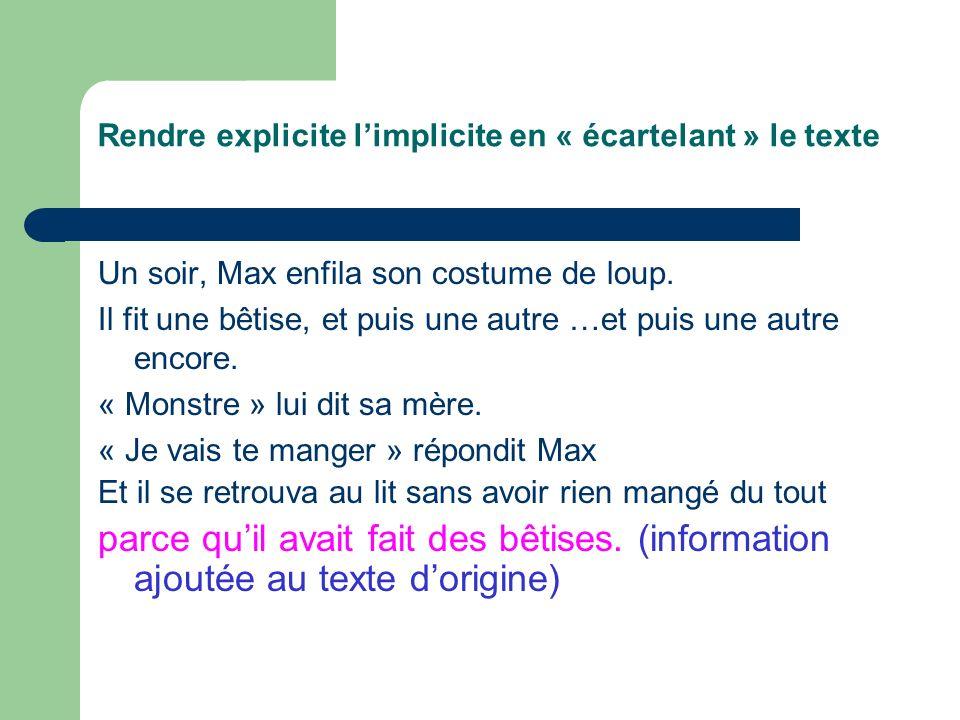 Rendre explicite limplicite en « écartelant » le texte Un soir, Max enfila son costume de loup.