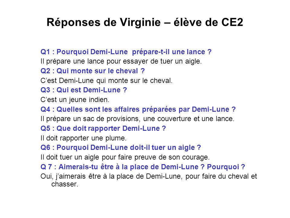 Réponses de Virginie – élève de CE2 Q1 : Pourquoi Demi-Lune prépare-t-il une lance ? Il prépare une lance pour essayer de tuer un aigle. Q2 : Qui mont
