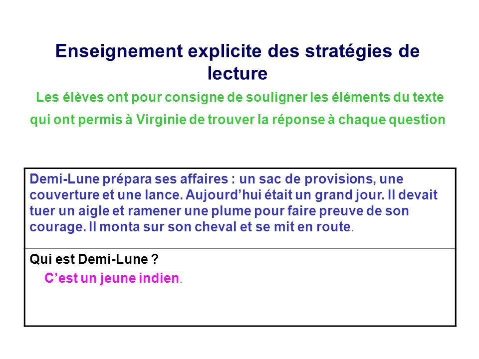 Enseignement explicite des stratégies de lecture Les élèves ont pour consigne de souligner les éléments du texte qui ont permis à Virginie de trouver