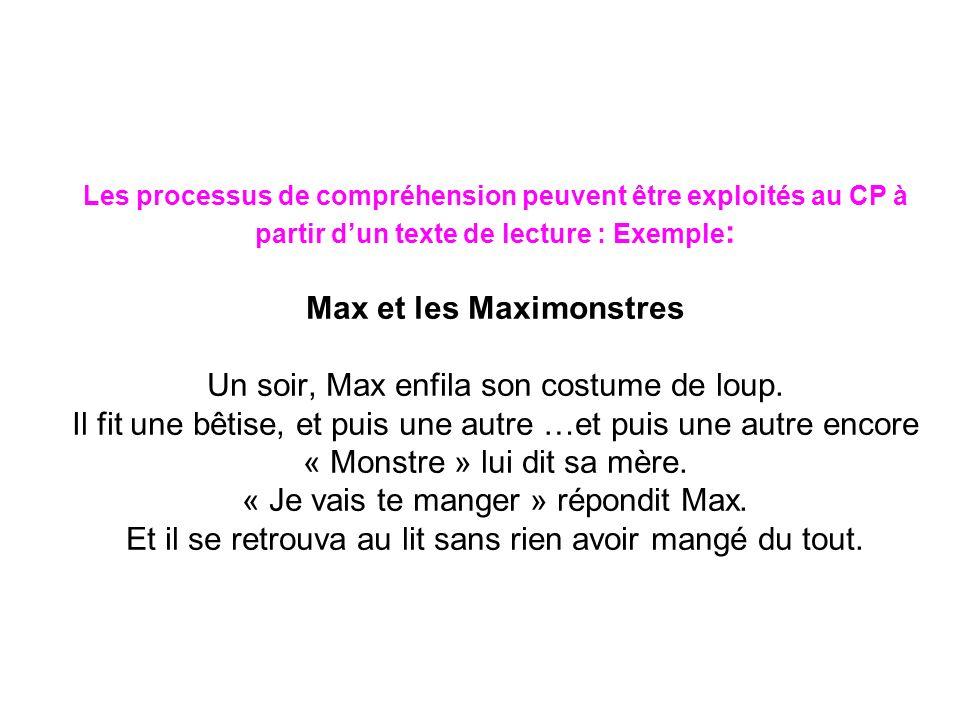 Les processus de compréhension peuvent être exploités au CP à partir dun texte de lecture : Exemple : Max et les Maximonstres Un soir, Max enfila son costume de loup.