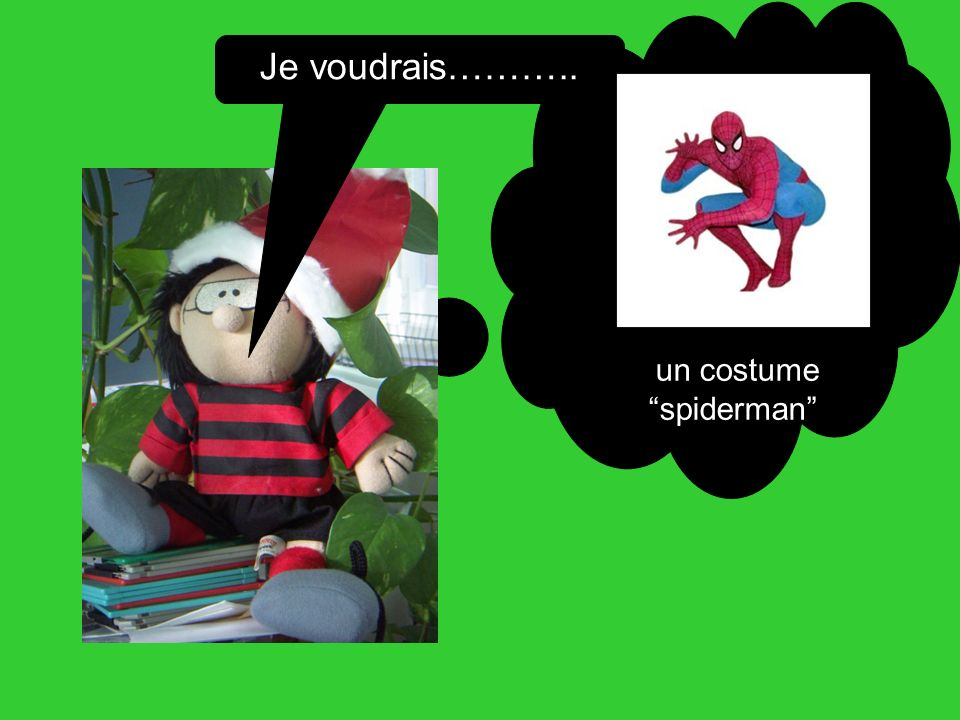 Je voudrais……….. un costume spiderman
