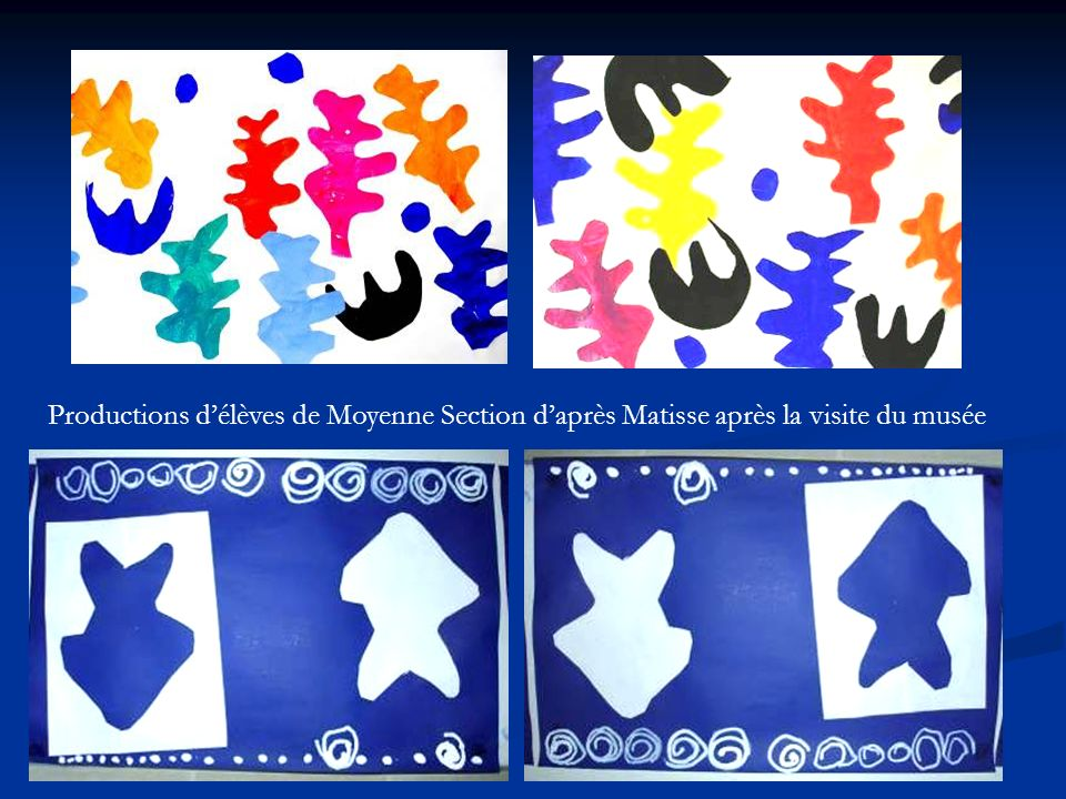 Productions délèves de Moyenne Section daprès Matisse après la visite du musée