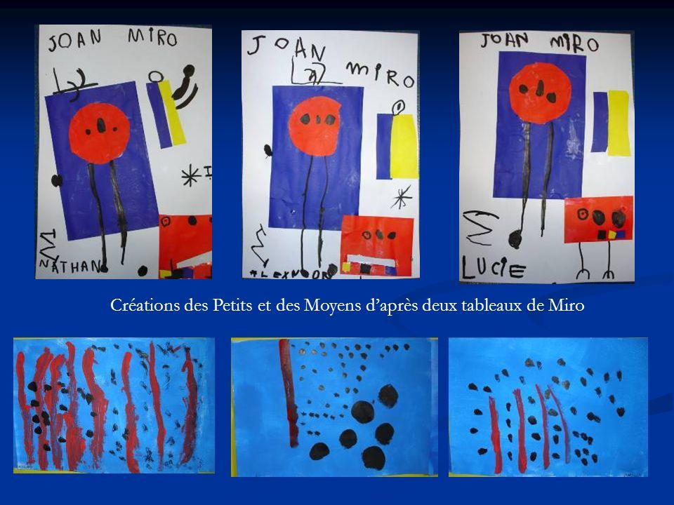 Créations des Petits et des Moyens daprès deux tableaux de Miro
