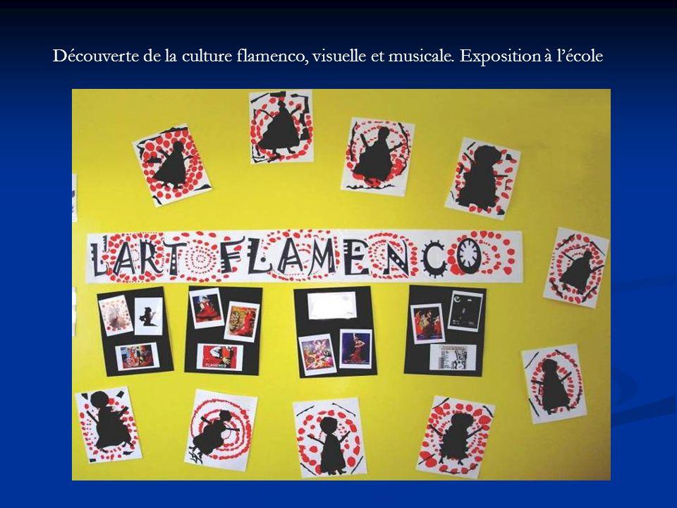 Découverte de la culture flamenco, visuelle et musicale. Exposition à lécole