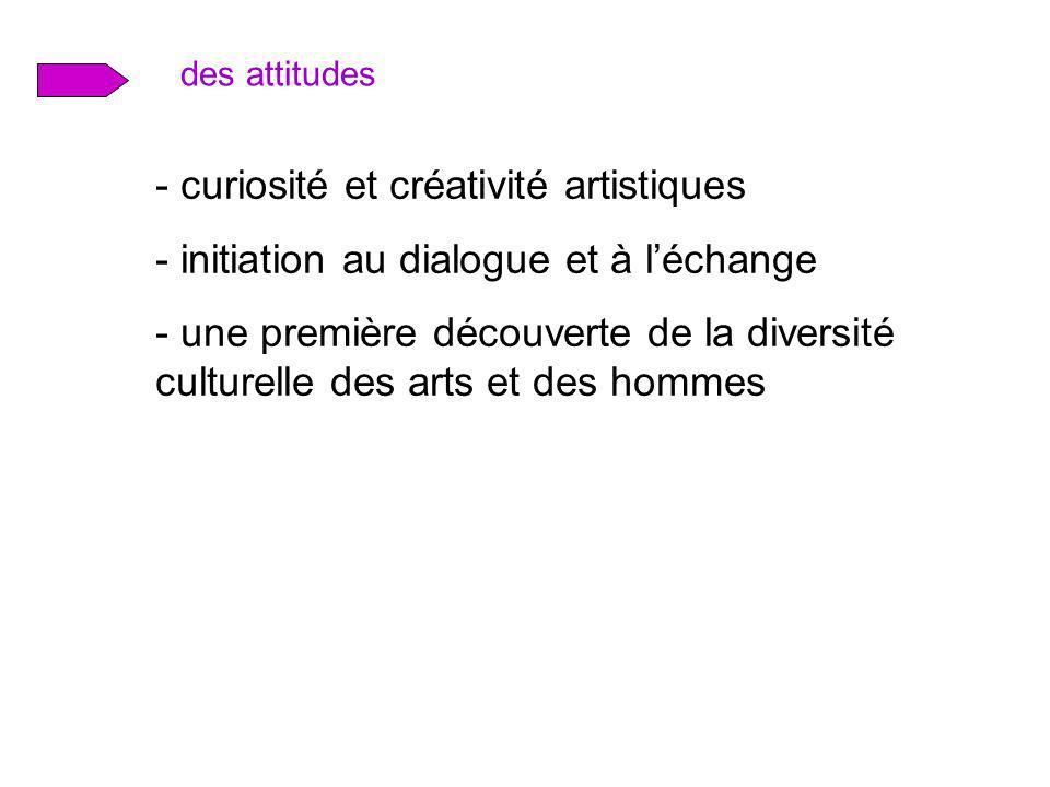 des attitudes - curiosité et créativité artistiques - initiation au dialogue et à léchange - une première découverte de la diversité culturelle des ar