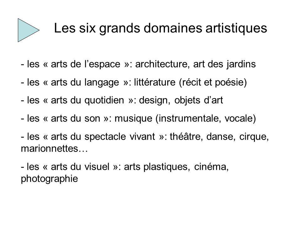 Les six grands domaines artistiques - les « arts de lespace »: architecture, art des jardins - les « arts du langage »: littérature (récit et poésie)