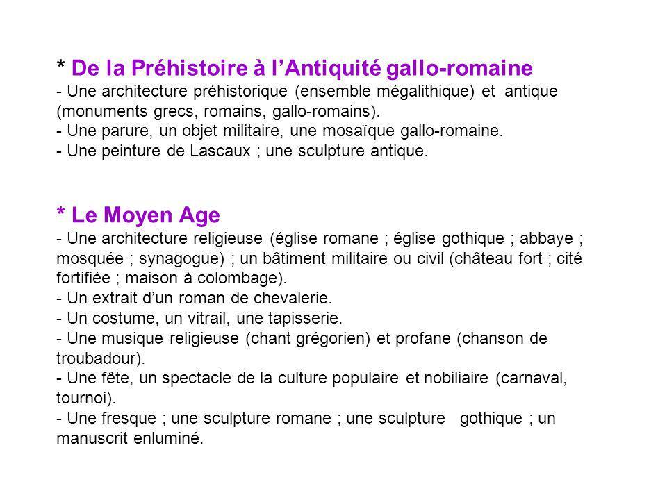 Les Temps modernes -Une architecture royale (château de la Loire, château de Versailles), une architecture militaire (fortification); une place urbaine ; un jardin à la française.