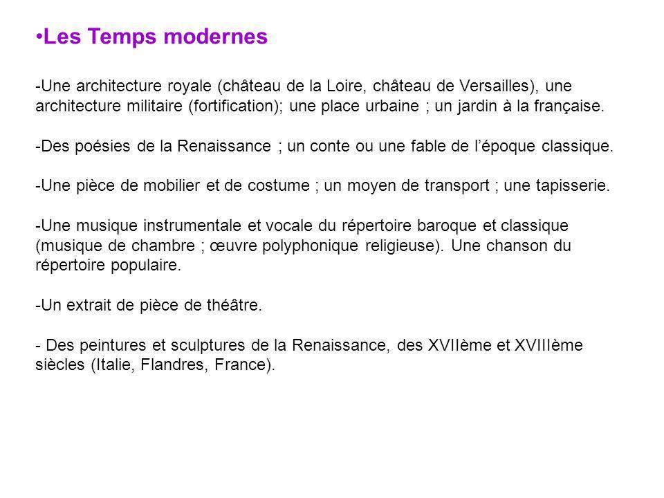 Les Temps modernes -Une architecture royale (château de la Loire, château de Versailles), une architecture militaire (fortification); une place urbain