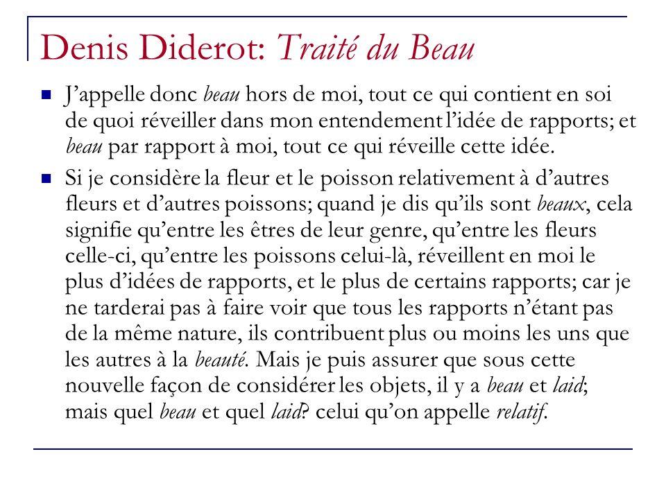 Denis Diderot: Traité du Beau Jappelle donc beau hors de moi, tout ce qui contient en soi de quoi réveiller dans mon entendement lidée de rapports; et
