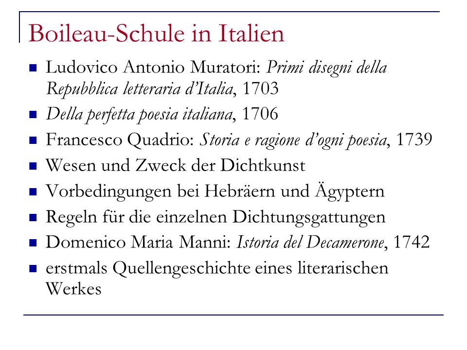 Boileau-Schule in Italien Ludovico Antonio Muratori: Primi disegni della Repubblica letteraria dItalia, 1703 Della perfetta poesia italiana, 1706 Fran