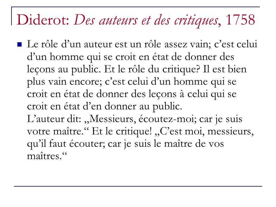 Diderot: Des auteurs et des critiques, 1758 Le rôle dun auteur est un rôle assez vain; cest celui dun homme qui se croit en état de donner des leçons