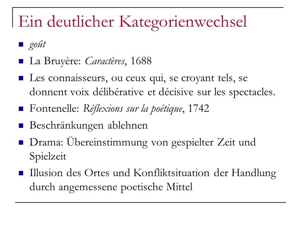 Ein deutlicher Kategorienwechsel goût La Bruyère: Caractères, 1688 Les connaisseurs, ou ceux qui, se croyant tels, se donnent voix délibérative et déc
