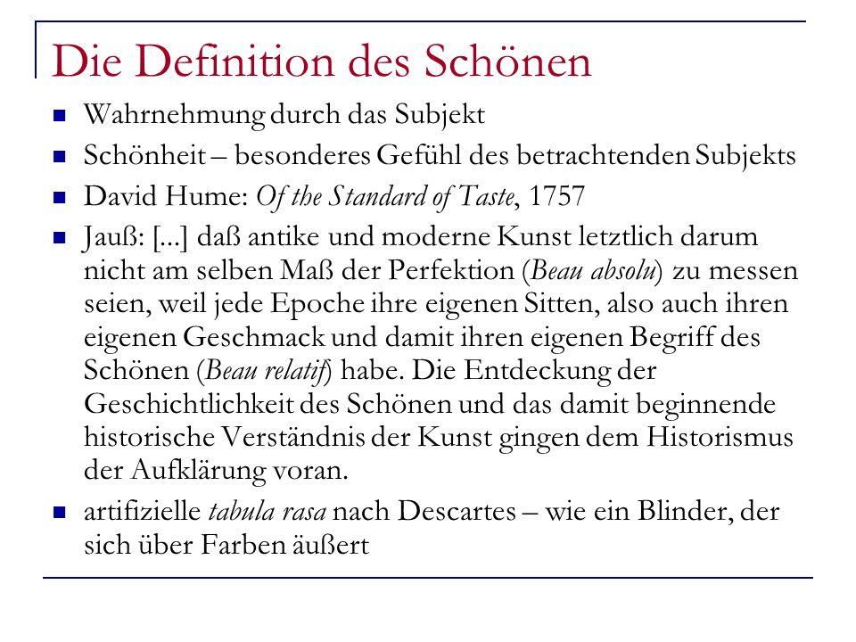 Die Definition des Schönen Wahrnehmung durch das Subjekt Schönheit – besonderes Gefühl des betrachtenden Subjekts David Hume: Of the Standard of Taste