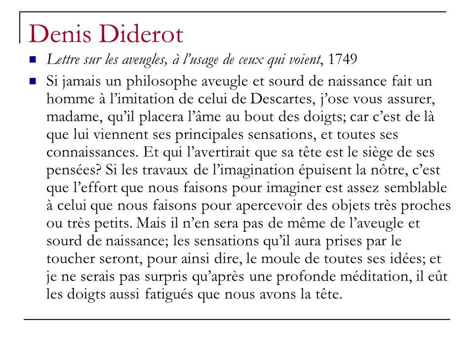 Denis Diderot Lettre sur les aveugles, à lusage de ceux qui voient, 1749 Si jamais un philosophe aveugle et sourd de naissance fait un homme à limitat
